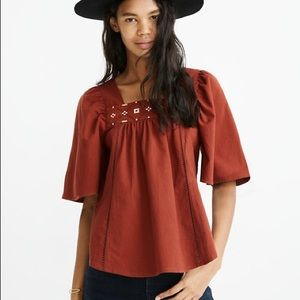 Madewell Cross Stitch top burnished mahogany